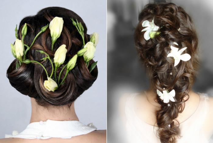 Свежие цветы в свадебной прическе