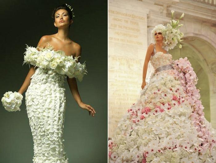 Свадебное платье из настоящих цветов