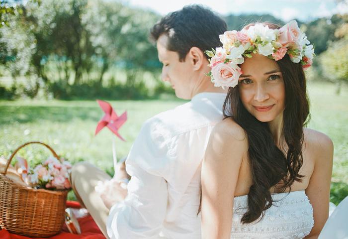Превосходные свадебные образы с использованием цветов.