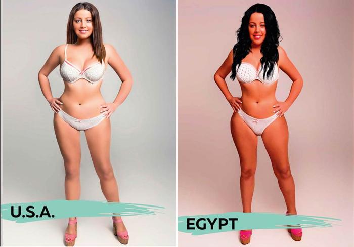 Идеальные девушки для жителей Соединенных Штатов Америки и Египта, созданные фотохудожниками для проекта «Восприятие красоты» («Perceptions of Perfection»).