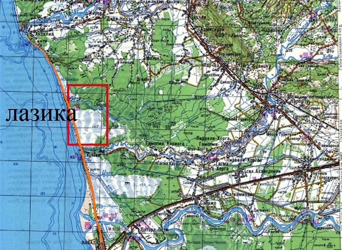 Расположение Лазики на карте