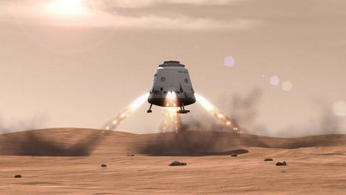 Посадка космического челнока Red Dragon на Марс