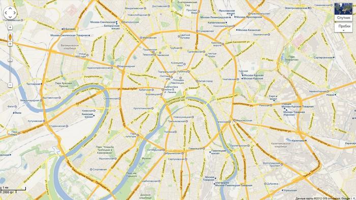 Москва на картах Google Maps