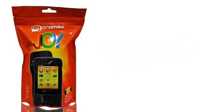 Телефон Micromax Joy с упаковкой в стиле M&M's