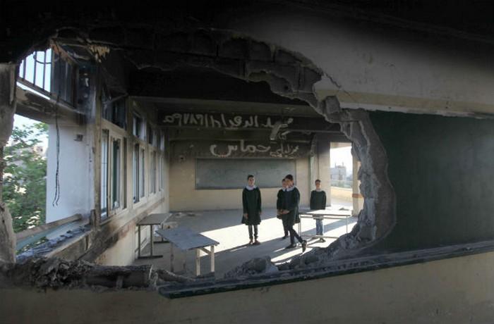Разрушенная школа в Секторе Газа