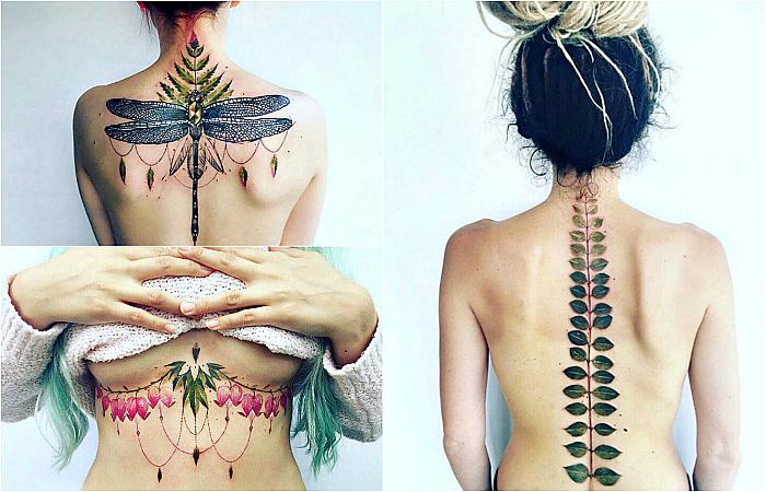 Женственные татуировки, вдохновленные природой.