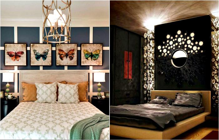 Яркие идеи декора стены в изголовье кровати.