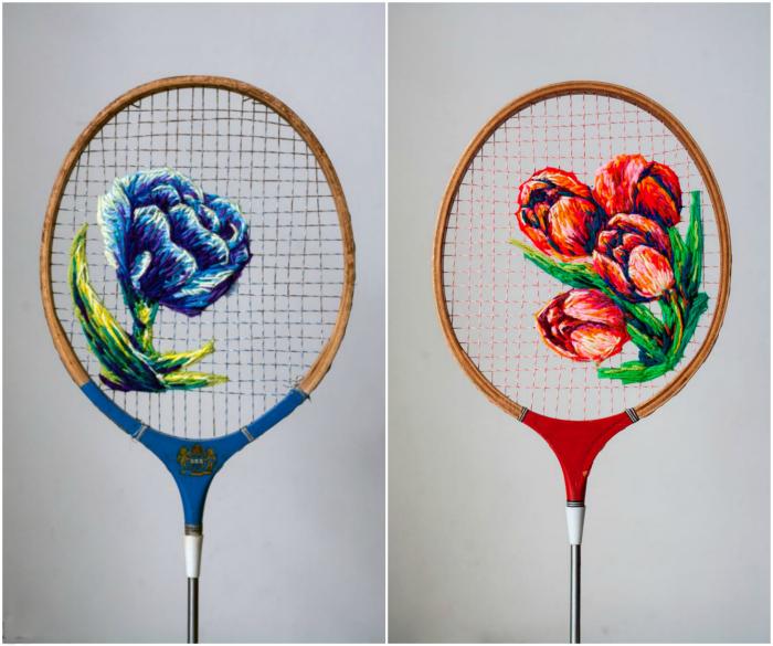 Теннисные ракетки, украшенные вышивкой.