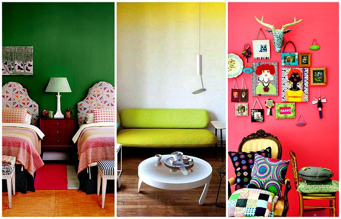 Уникальные примеры использования ярких цветов в интерьерах.