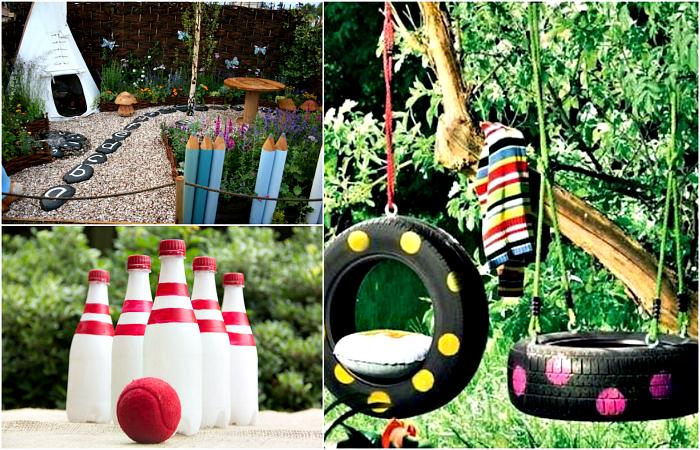 Потрясающие идеи для обустройства детской площадки во дворе.