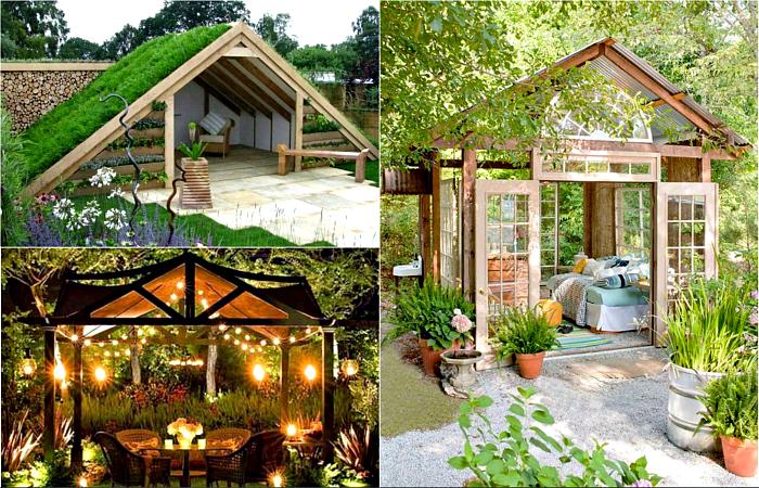 Чудесные примеры дизайна садовых беседок.