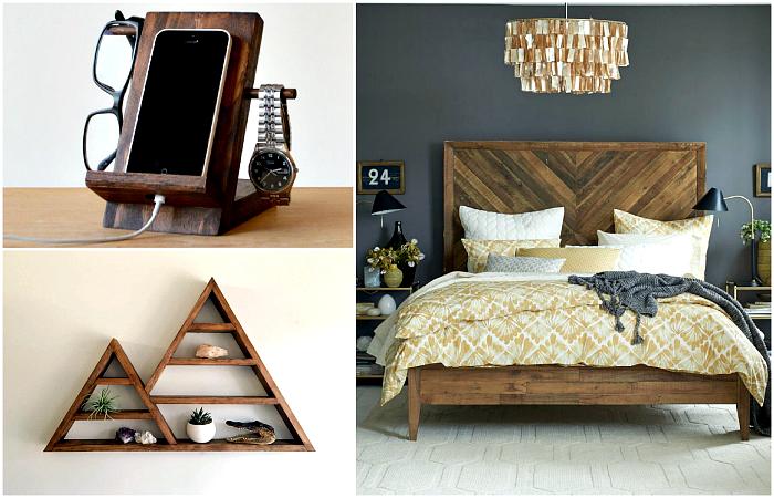 Восхитительная мебель и предметы декора из натурального дерева.