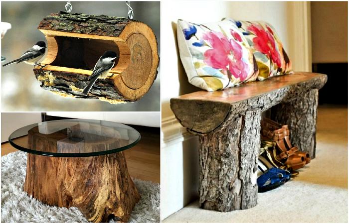 Чудесные идеи использования деревянных пней для декора дома и сада.