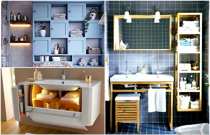 Красивые и практичные идеи хранения в санузле.