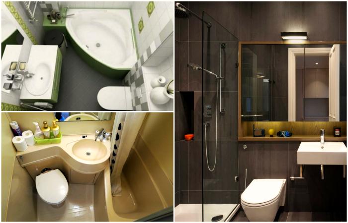 Интересные решения для маленьких ванных комнат.