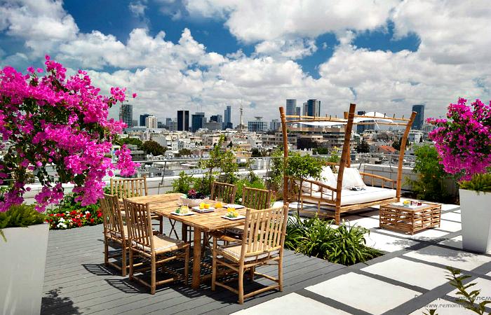 Примеры очаровательных террас на крышах жилых домов.