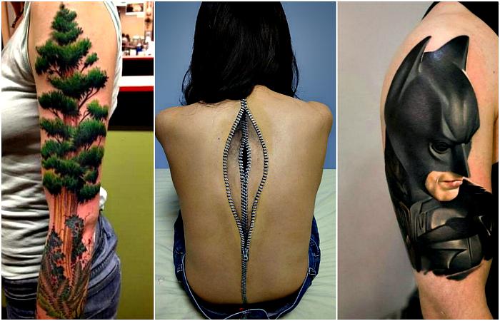 Гиперреалистичные объемные татуировки.