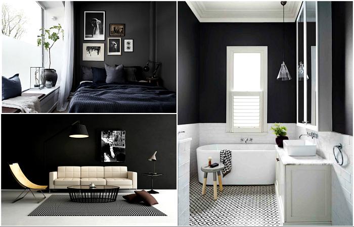 Черная стена, как изысканная деталь современного интерьера.