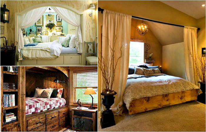 Чудесные спальни с альковами и встроенными кроватями.