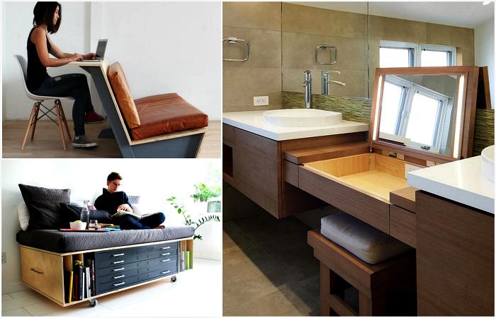 Примеры эргономичной мебели для грамотной организации пространства небольших квартир.