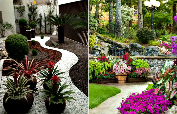 Чудесные примеры использования камней в оформлении сада.