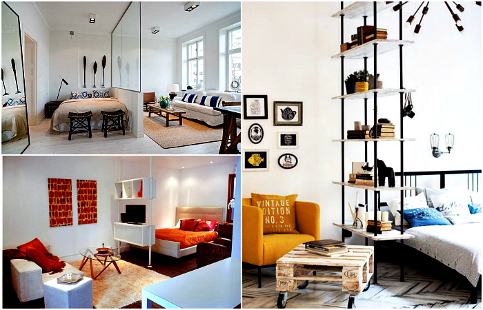 Интересные идеи обустройства и зонирования однокомнатной квартиры.