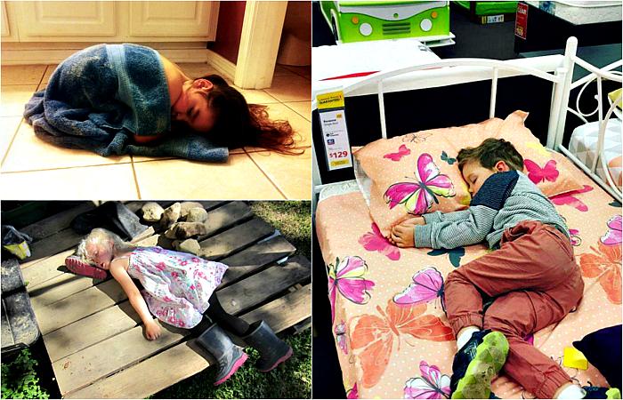 Дети, доказывающие, что спать можно в где угодно.