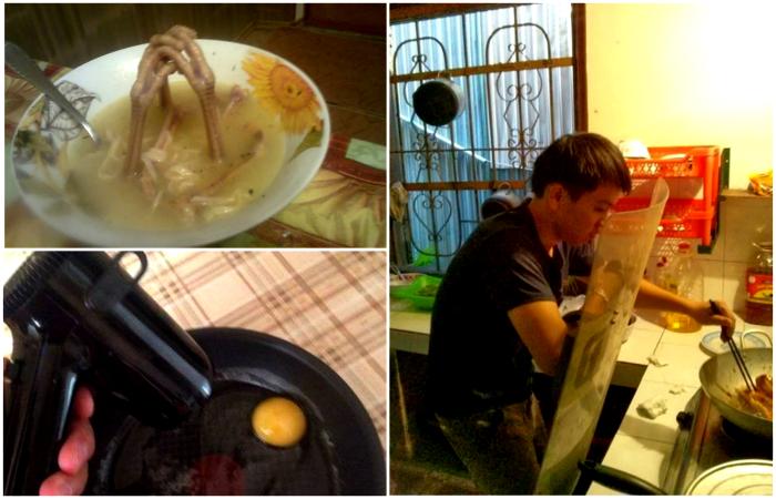 Изобретательные мужчина, которые осваивают азы кулинарии.