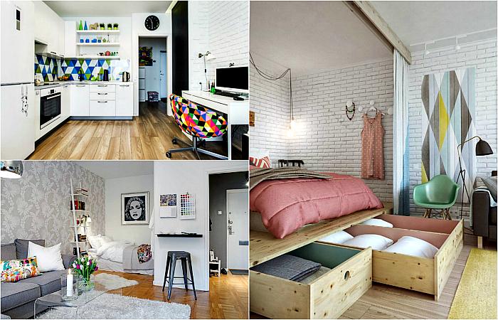 Замечательные примеры обустройства однокомнатной квартиры.