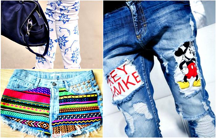 Стильные идеи по преображению старых джинсов.