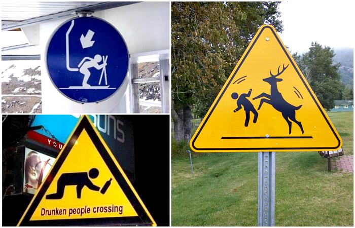 Уморительные дорожные знаки с разных уголков мира.