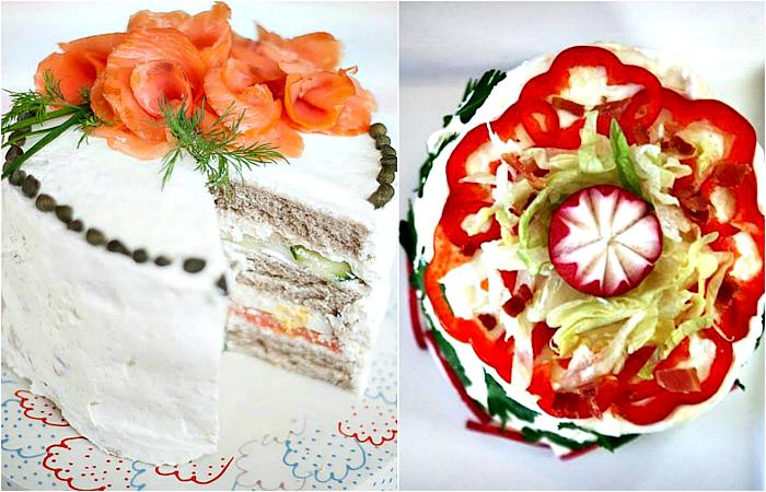 Рецепты вкусных и необычных бутербродных тортов.