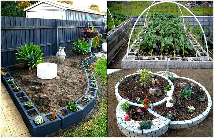 Интересные поделки из кирпича и шлакоблоков для сада.