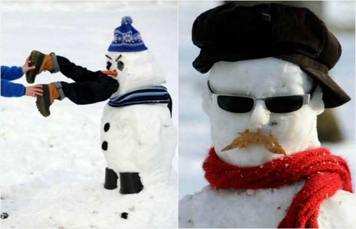 Примеры самых креативных и забавных снеговиков.