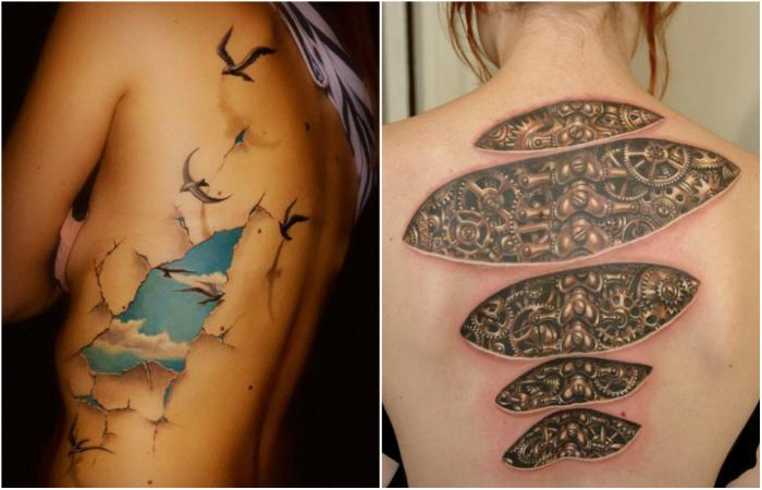 Потрясающие трехмерные татуировки.