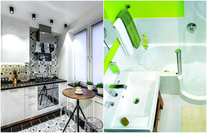 Неординарные примеры обустройства кухни и санузла в хрущевке.