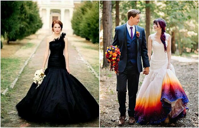 Оригинальные наряды современных невест.