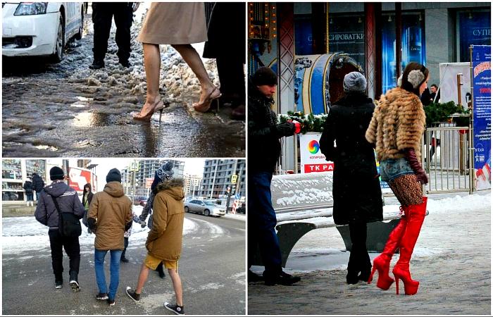 Необычные зимние наряды горожан.