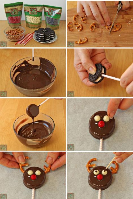 Олени из печенья в шоколаде.