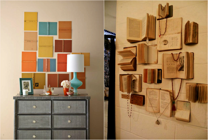 Декор стен с помощью старых книг.