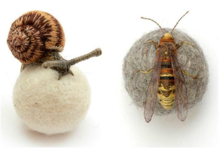 Вышитые насекомые.