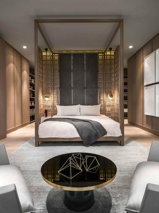 Спальня с элементами восточного стиля.