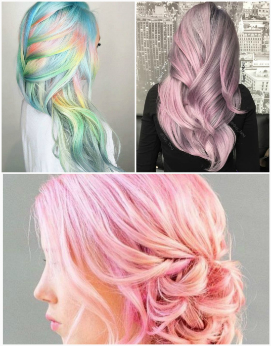 Цветные оттенки на светлых волосах.