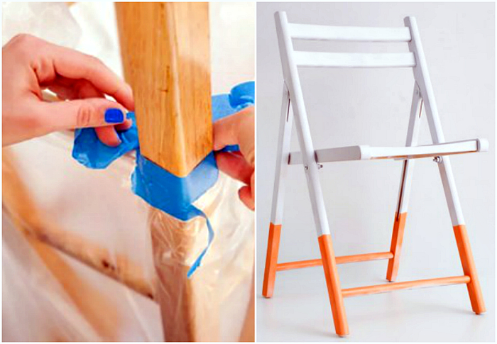 Яркая покраска стула.