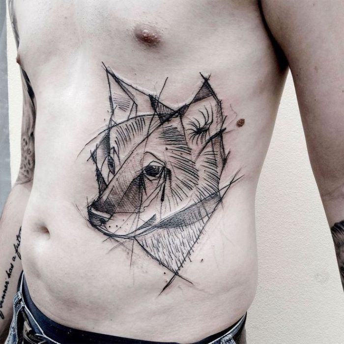 Татуировка в стиле Скетч.