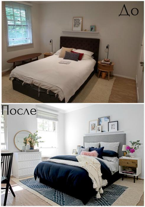 Трансформация скучной спальни в оригинальное и динамичное пространство.
