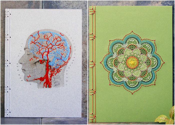 Обложки тетрадей, украшенные вышивкой.
