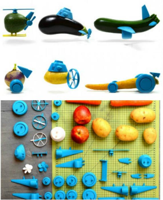 Детали Open Toys, которые позволят превратить скучные овощи в оригинальные игрушки.