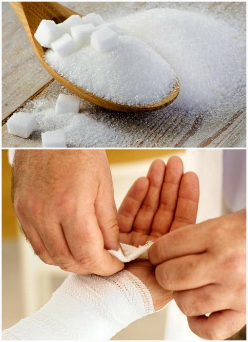 Использования сахара при порезах.