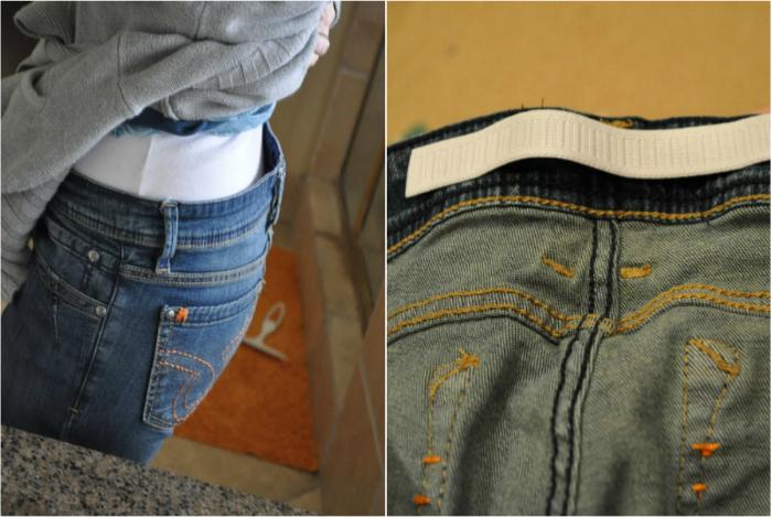 Чтобы быстро и легко подогнать джинсы по фигуре нужно просто пришить резинку на внутреннюю часть пояса.